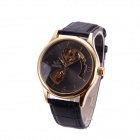 Sewor M104-3 Men's Fashion Skeleton Auto Mechanical Watch - Black + Golden