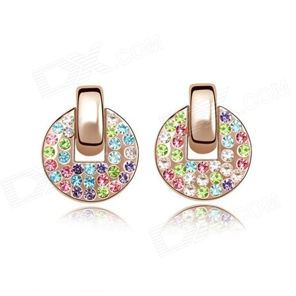 Angibabe Fashion Woman's Round Gold-plated Alloy + Crystals Stud Earrings - Multicolored (Pair) square shaped stylish crystal zinc alloy stud earrings black bronze pair