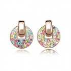 Angibabe Fashion Woman's Round Gold-plated Alloy + Crystals Stud Earrings - Multicolored (Pair)