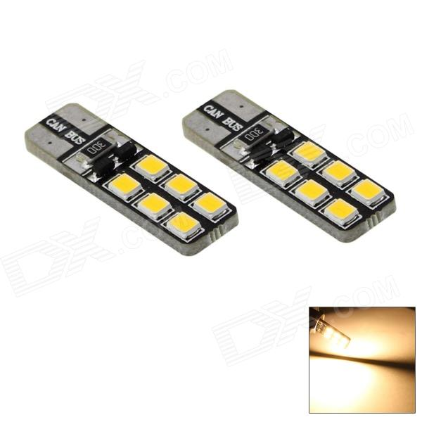 HONSCO T10 2W 3000K 70lm 12-SMD 2835 LED Car Warm White Light Bulbs (Pair / DC 12V)