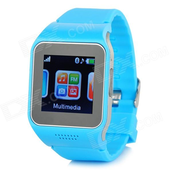 V9 GSM & Bluetooth Wrist Watch Phone w/ 1.5 Screen, Quad-band, FM - Blue zgpax s18 gsm watch phone w 1 54 capacitive screen quad band bluetooth fm blue us