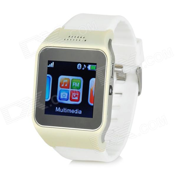V9 GSM & Bluetooth Wrist Watch Phone w/ 1.5 Screen, Quad-band, FM - White + Beige