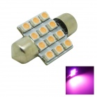 31mm 1.2W 60~80lm 12x3528 SMD LED Pink Light Car Dome Festoon Door Light Bulb ( DC 12V )