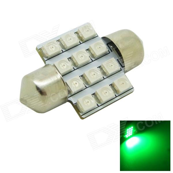 31mm 1.2W 60~80lm 12x3528 SMD LED Green Light Car Dome Festoon Door Light Bulb ( DC 12V )