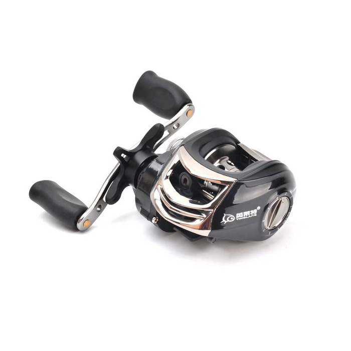 YINGLAITE 10+1 Axles Magnetic Brake Aluminum Alloy Right Hand Fishing Reel - Black + Silver right left hand bait casting reel 14 bb bearings 6 3 1 fishing gear water drop wheel fishing reel lure reel