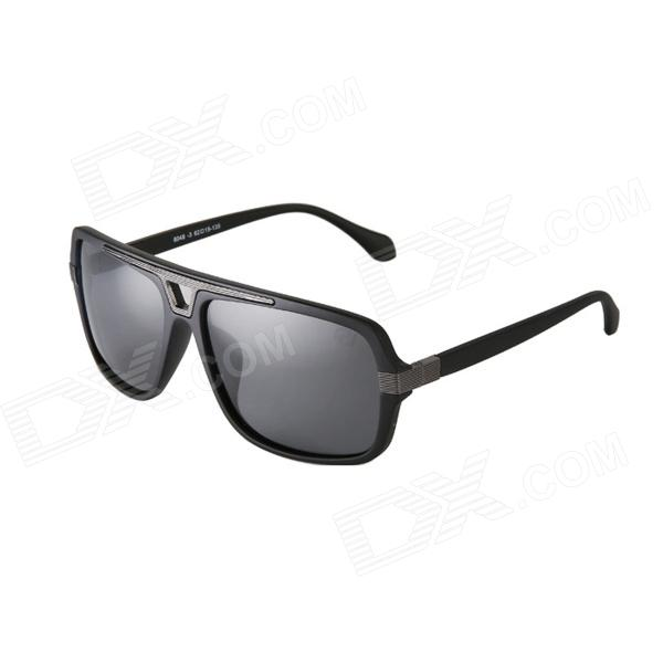 Reedoon 8048tr Men's Polarized Sunglasses - Black + Grey reedoon 1417 trend of the goddess hip hop sunshade sunglasses black golden