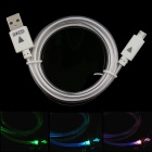PZCD PZ-50 LED Multi-Color Cylinder Visible Data Sync Charging Cable for Micro USB Devices - White