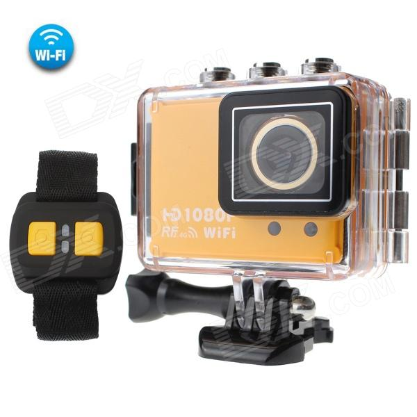 CAM AT200 1.5 TFT Screen 50M Waterproof 1080P Full HD 5.0MP CMOS Remote Control Wi-Fi Sports Camera - DXSport Cameras<br>Color Orange + Black Brand MO.MAT Model CAM AT200 Shade Of Color Orange Material Plastic Quantity 1 Set Image Sensor CMOS Image Sensor Size 2/3 Inch Anti-Shake Yes Focal Distance N/A cm Focusing Range N/A Optical Zoom OthersAuto Digital Zoom OthersAuto Built-in Speedlite No Speedlite Range N/A Aperture 6G+IR F=1.6 Aperture Range N/A Wide Angle 170° Effective Pixels 5.0MP Max. Pixels 60 Pixels Images JPG Still Image Resolution 10M 3672 x 2754 8M 3264 x 2448 6M 2816 x 2112 3M 2048 x 1536 2M 1792 x 1344 VGA 640 x 480 Video MOVOthersH.264 Video Resolution 1080P (1920x1080) 30FPS; 720P (1280 x 720) 60FPS; 720P (1280 x 720) 30FPS Video Frame Rate 3060 Audio System Dual Channel Cycle Record Yes ISO No Exposure Compensation Others+2.0 +1.0 +0.0 -1.0 -2.0 Scene Mode Auto White Balance Mode Auto Supports Card Type TF Supports Max. Capacity 32 GB Built-in Memory / RAM No Input Interface Mic Output Interface OthersMicro USBMicro HDMITF Slot LCD Screen Yes Screen Type TFT Screen Size 1.5 inch Screen Resolution 800 x 600 Battery Actual Capacity 1050 mAh Nominal Capacity 1050 mAh Battery Type Li-ion battery Battery included or not Yes Battery Quantity 1 Piece Voltage 3.7 V Battery Charging Time 2-3 hours Low Battery Alerts Yes Water Resistant Water Resistant 5 ATM or 50 m Supported Languages Simplified ChineseTraditional ChineseBrazilianRussianItalianFrenchGerman Certification RoHS CE FC Other Features WIFIIEEE 802.11b/b/n Distance: 30Meters in open space Wi-Fi frequency: 2.4GHz-2.4835GHz Mobile device OS: iOS 6.1 or above Android 4.0 or above Remote controller frequency: 6 meter Wireless remote distance: 15meters in open space Packing List 1 x Camera 1 x Waterproof protection case 1 x Battery 1 x Wrist Remote Controller 1 x USB data cable (98cm) 1 x Power adapter (EU plug input:110-220v 50/60Hz ) 1 x HDMI Cable (150cm) 1 x Helmet buckle 1 x Bicycle frame 2 x 3M Pads 8 x Holder compositions<br>
