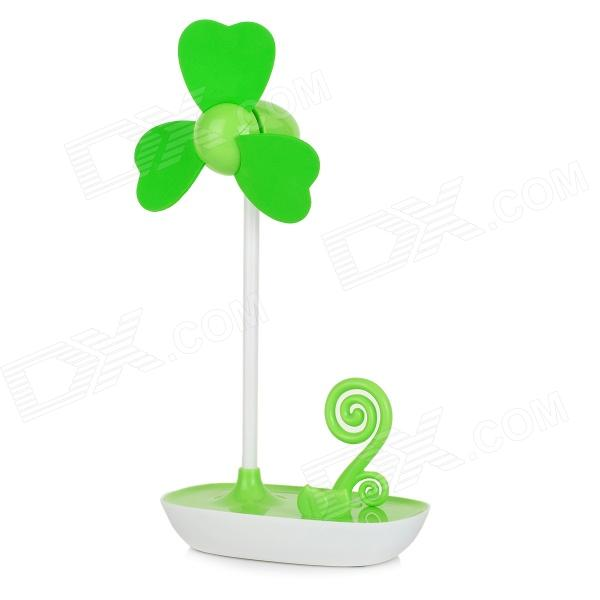 Cute Mini USB 3-Blade Fan - Green + White (3 x AAA)