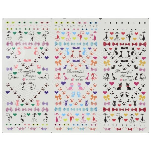 HOT-094-096 DIY 3-in-1 3D Nail Art Decoration Stickers - Multi-Colored