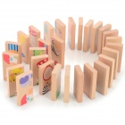Cute Cartoon Animal Pattern Educational Wooden Domino Set - Wood + Red + Multi-Colored
