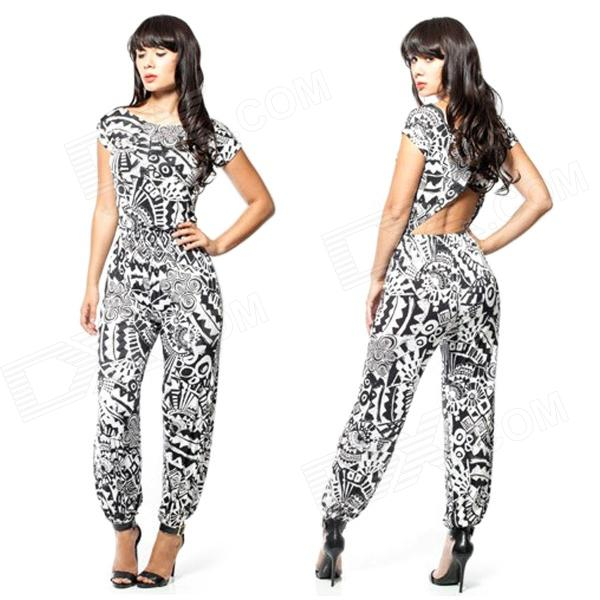 Women's Sexy Polyester + Spandex Short Sleeves Jumpsuit - Black + White (Size L)