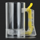Creative Acrylic + ABS Beer Bubble Cup Bottle w/ Handle - Transparent + Yellow