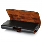 Protective Top-layer Cow Leather Case w/ Waist Clip for Samsung i9500 / i9300, HUAWEI P6 - Black