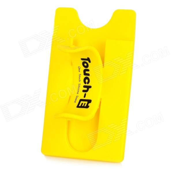 Silicone Magic Sticker Holder Stand for Cellphone - Yellow
