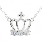 N612 Women's Fashionable Crown Shaped Pendant Necklace - Silver