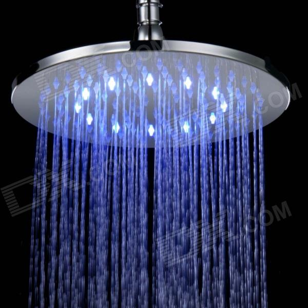 Shending LD8030-A2 LED Blue / Pink / Red Light Chrome-plated Brass Round Shower Head - Silver shending ld8030 a4 led blue pink red acrylic stainless steel round shower head silver