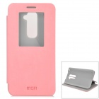MOFI PH0005 Protective PU + ABS Case w/ Stand for LG G2 - Pink + Grey