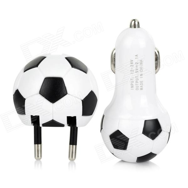 Football Style AC EU Plug Power Adatper + USB Car Charger + Data Charging Cable Set janse football foot style 15w dual usb eu plug power charger car charger white