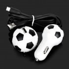 Fútbol Style CA de la UE Plug Power adatper + USB Car Charger + Data Cable de carga Set