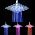 Shending LD8030-A5 LED Blue / Pink / Red Acrylic + Stainless Steel Square Shower Head - Silver