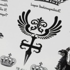 YM-K144 Crown & FireKylin & English Letters Pattern Tattoo Paper Sticker - Black + White