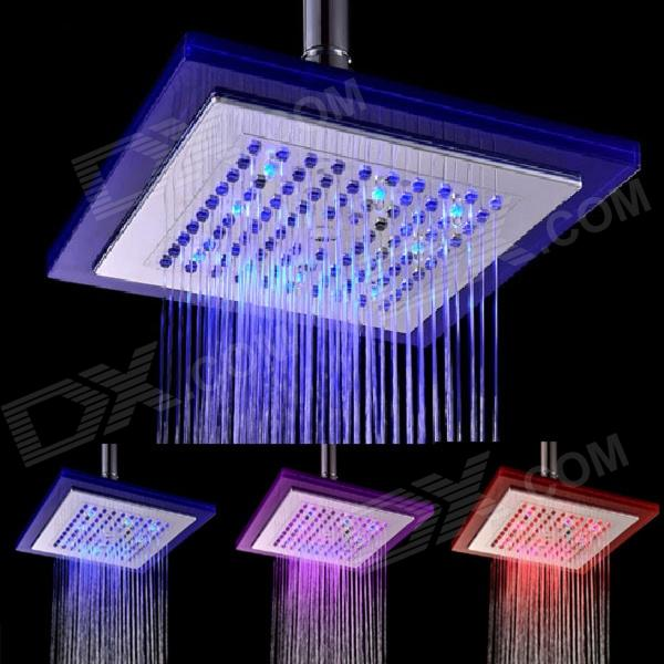 Shending LD8030-C5 8 LED Blue / Pink / Red Light Square Shower Head - Silver + Translucent Blue shending ld8030 a4 led blue pink red acrylic stainless steel round shower head silver