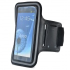 Sports Protective Silicone + Leather Armband for Samsung Galaxy S3 / i9300 - Black