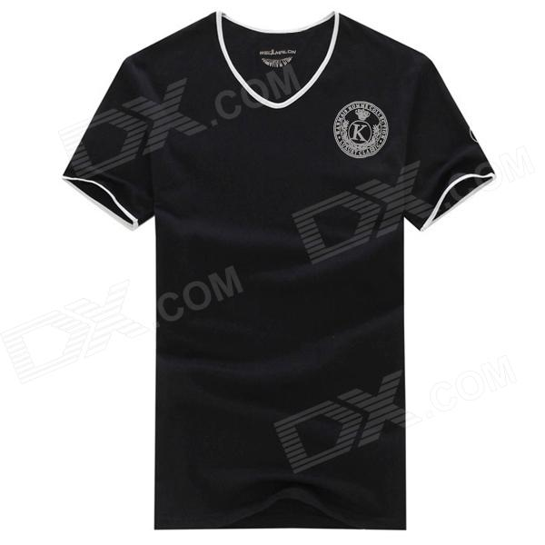 Men's V-Neck Short Sleeves Polyester + Spandex T-Shirt - Black (XL)