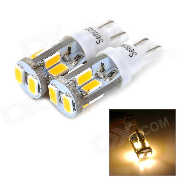 SENCART T10 4W 120lm 3500K 10-SMD 5730 LED Warm White Light Car Lamps - White (2 PCS / 12~16V) 追逐风的孩子 儿童文学金牌作家书系