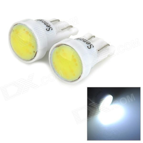 SENCART T10 1W 10lm 9000K 1-COB LED Cool White Car Lamps - White (2 PCS / 12-16V)