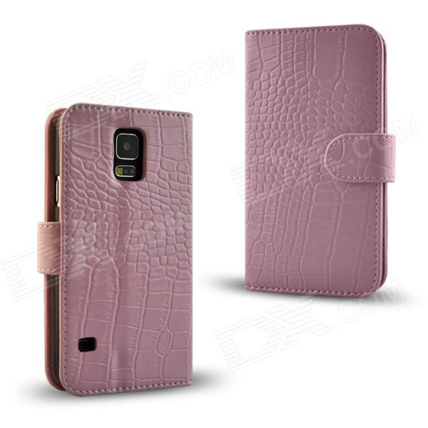 Angibabe Crocodile Pattern Protective Genuine Leather Case Cover Stand for Samsung Galaxy S5 - Pink angibabe crocodile pattern protective genuine leather case cover stand for samsung galaxy s5 black