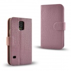 Angibabe Crocodile Pattern Protective Genuine Leather Case Cover Stand for Samsung Galaxy S5 - Pink