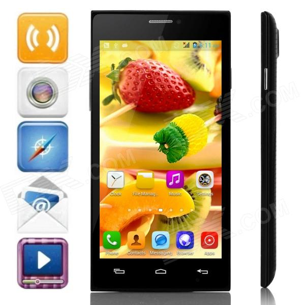 JIAKE X909 MTK6572 Dual-Core Android 4.2.2 WCDMA Bar Phone w/ 5.0 IPS, Wi-Fi, FM, GPS - Black