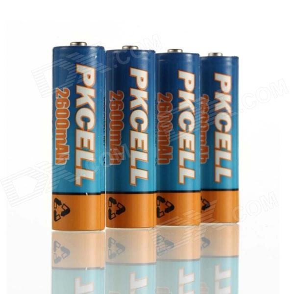 PKCELL 1.2V 2600mAh Ni-MH Rechargeable AA Batteries - Blue + Orange (4 PCS) 8pcs pkcell battery aaa pre charged nimh 1 2v 1200mah ni mh 3a rechargeable batteries up to 1000mah capacity cycle 1200times