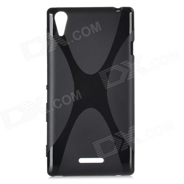 X Style Protective TPU Back Case for Sony Xperia G - Black mesh style protective back case for htc one x s720e black