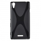 """X"" Style Protective TPU Back Case for Sony Xperia G - Black"