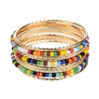 LM017 Beautiful Mini Zinc Alloy Beads Bracelet Set for Women - Gold + Multicolored