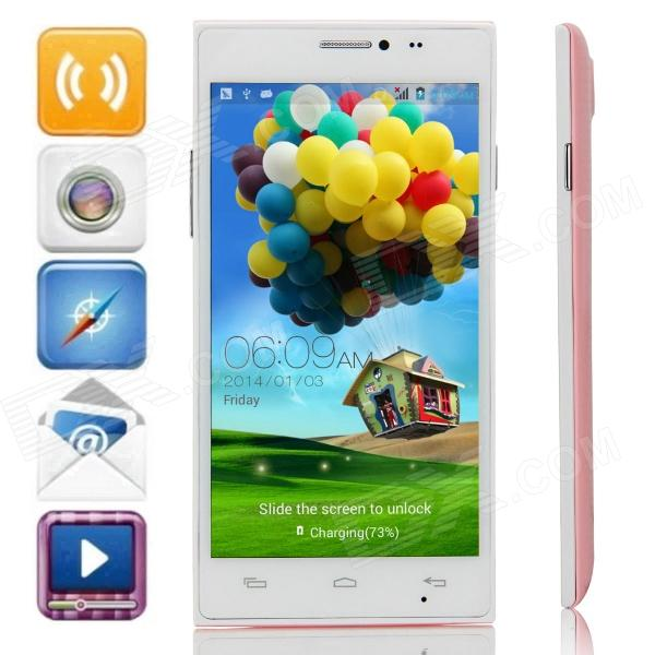 JIAKE X909 MTK6572 Dual-Core Android 4.2.2 WCDMA Bar Phone w/ 5.0 IPS, Wi-Fi, FM, GPS - Pink+ White jiake f1w 5 0inch capacitive touch screen mtk6572 dual core 1 2ghz smartphone 512mb 4gb 2 0mp 0 3mp android 4 2 os 3g gps with protective case black
