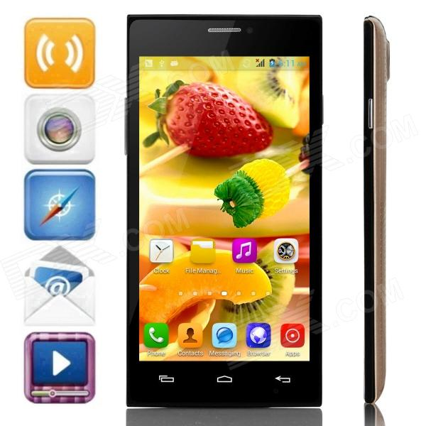 JIAKE X909 MTK6572 Dual-Core Android 4.2.2 WCDMA Bar Phone w/ 5.0 IPS, Wi-Fi, FM, GPS - Gold+ Black
