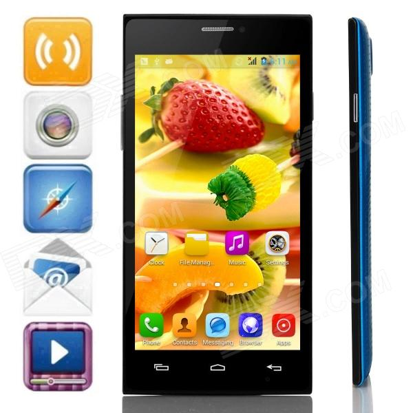 JIAKE X909 MTK6572 Dual-Core Android 4.2.2 WCDMA Bar Phone w/ 5.0 IPS, Wi-Fi, FM, GPS - Blue +Black