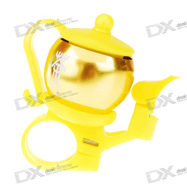 Teapot Shaped Aluminum Bicycle Mounted Bell (Yellow)