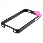 Bowknot Style Protective Bumper Frame for IPHONE 4 / 4S - Black + Fuschia