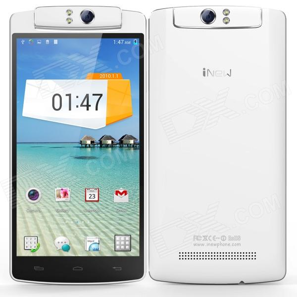 INEW V8 Six-Core Android 4.4 WCDMA Bar Phone w/ 5.5 O-Touch, GPS, Wi-Fi, NFC, Bluetooth 4.0 - White m pai 809t mtk6582 quad core android 4 3 wcdma bar phone w 5 0 hd 4gb rom gps black