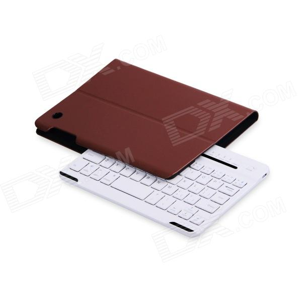 B.O.W Detachable Bluetooth V3.0 Keyboard With PU Leather Case for IPAD mini 1 / 2- White + Brown