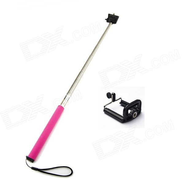 JUSTONE Handheld Retractable Aluminum Alloy Monopod Mount for DLSR / IPHONE / Samsung - Deep Pink retractable rotary handheld abs aluminum monopod w holder for iphone more sky blue black