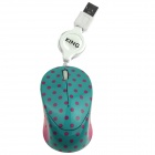 Hat-Prince 1200DPI Optical Mini Mouse with Retractable Cable - Deep Pink + Blue