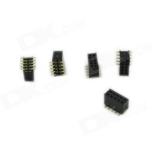 Dual Row 5Pin SMD Female Pin Headers - Black + Golden (5 PCS)