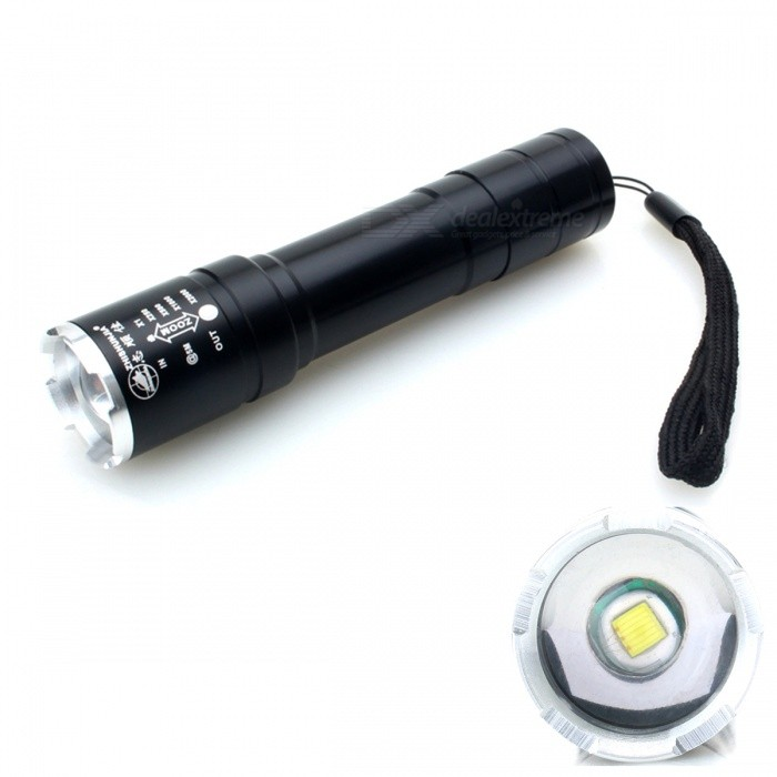 ZHISHUNJIA B-T40B LED 720lm 5-Mode Zooming Flashlight - Black (1 x 18650)18650 Flashlights<br>Form ColorBlackBrandZHISHUNJIAModelB-T40BQuantity1 DX.PCM.Model.AttributeModel.UnitMaterialAluminium alloyEmitter BrandCreeLED TypeXM-LEmitter BINT6Number of Emitters1Color BINWhiteWorking Voltage   3.7 DX.PCM.Model.AttributeModel.UnitPower Supply1 x 18650 (not included)Current2.8 DX.PCM.Model.AttributeModel.UnitActual Lumens720 DX.PCM.Model.AttributeModel.UnitRuntime4 DX.PCM.Model.AttributeModel.UnitNumber of Modes5Mode ArrangementHi,Mid,Low,Fast Strobe,SOSMode MemoryNoSwitch TypeClicky SwitchSwitch LocationTailcapLensPlasticReflectorNoBeam Range300 DX.PCM.Model.AttributeModel.UnitStrap/ClipStrap includedPacking List1 x Flashlight 1 x Hand rope (12CM)<br>