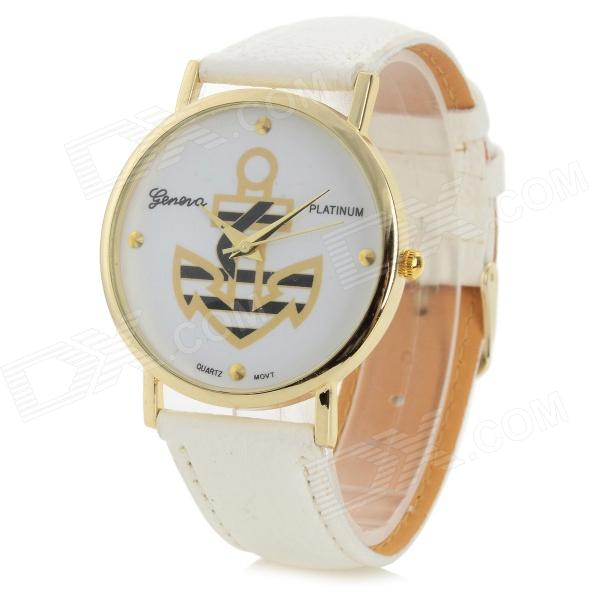 Fashionable Anchor Style PU Band Analog Quartz Wrist Watch - White (1 x 377)